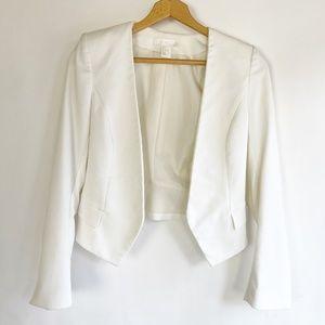 H&M Women's Size 2 Jacket Cropped Tuxedo White Jac